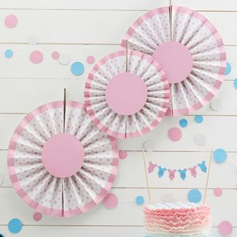 Pretty pink fans, perfect for a baby shower or gender reveal party!