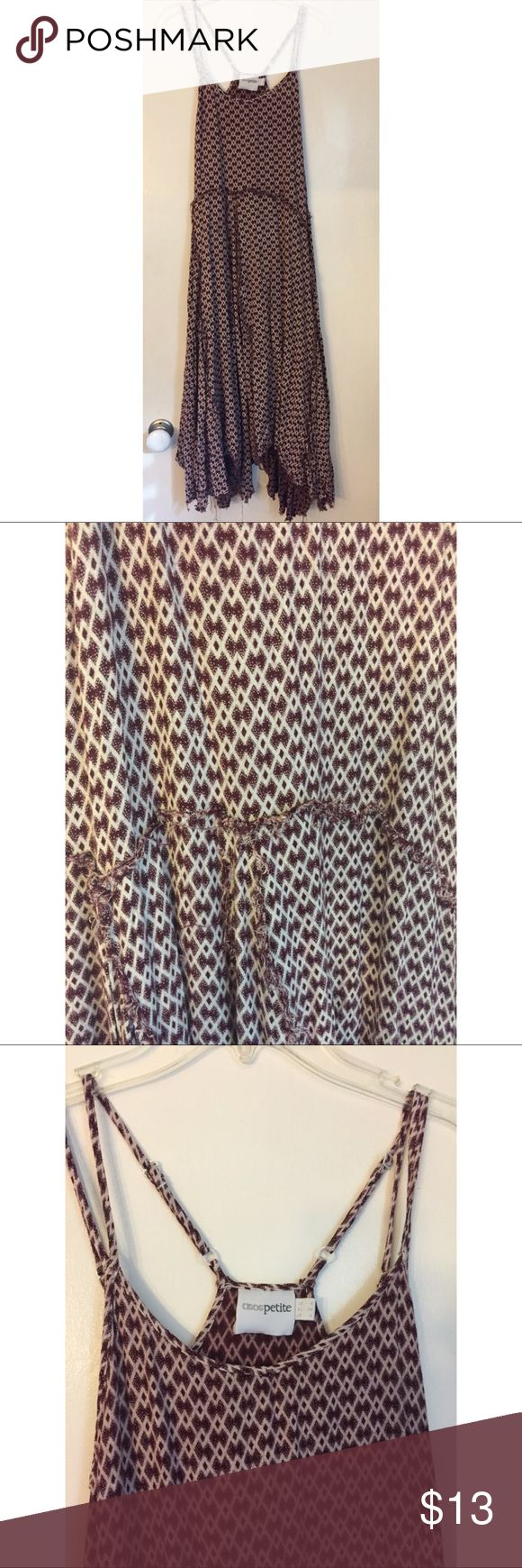 ASOS Petite Patterned Maxi Dress White and maroon patterned design all over the dress; boho style; fringe-y bottoms; spaghetti straps; soft; comfortable; Size: UK 8, EU 36, US 4; clean; no damage ASOS Petite Dresses Maxi