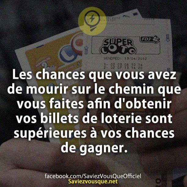 Les chances que vous avez de mourir sur le chemin que vous faites afin d'obtenir vos billets de loterie sont supérieures à vos chances de gagner. | Saviez Vous Que?