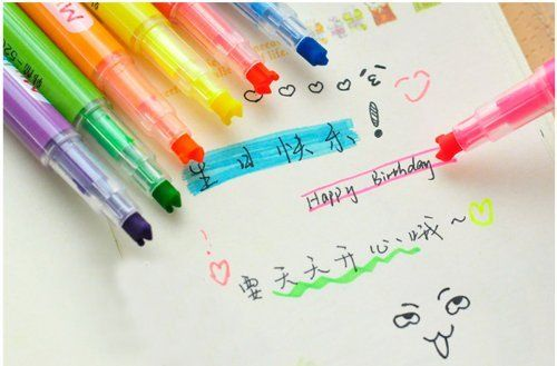 10pcs/lot 3 Way Multi Tips Writing Permanent Markers Highlighters with 10 Different Colours