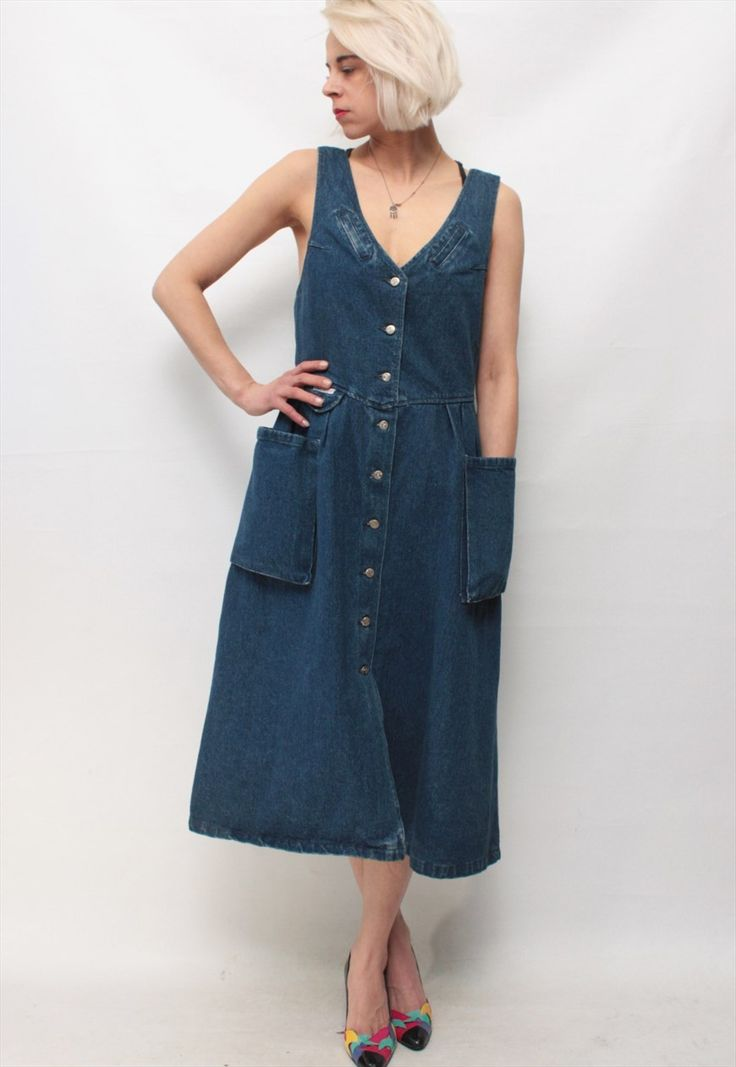 Vintage 90' Beautiful Amazing Long Denim Blue Dress. Size is M. Depending on desired look and fit, looks great oversized. Very good condition and quality. Our model wears UK 10/EU 36/US and is 168cm tall. Our clothes is vintage and may show some signs of wear. If You have any questions feel free to ask us. Enjoy! BRC Vintage.
