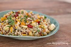 I love an all in one meal! Israeli couscous is a pearl pasta and when combined with red apples, dried apricots, shallots, cranberries, almonds, parsley and mint dressed with olive oil, apple cider vinegar and honey it becomes so much more! You can use regular Israeli Couscous, whole grain, or Trader Joe's Harvest blend like I do. The Trader Joe's Harvest Blend Couscous is a blend of couscous, red quinoa and garbanzo beans for more protein. Using fresh herbs adds flavor and health benefits…
