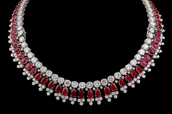 HARRY WINSTON Diamond  Ruby Necklace - Yafa Jewelry