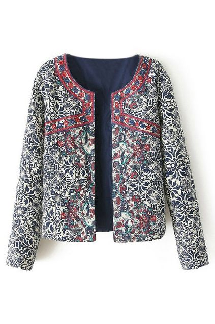 ROMWE | Blue & White Porcelain Embroidered Jacket, The Latest Street Fashion