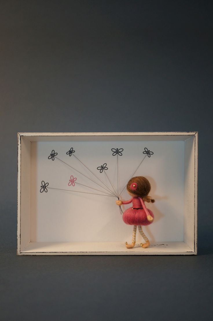 Image of NEEDLE FELTED FAIRY DOLL IN SHADOW BOX - BUTTERFLY FAIRY (shabby/pink)