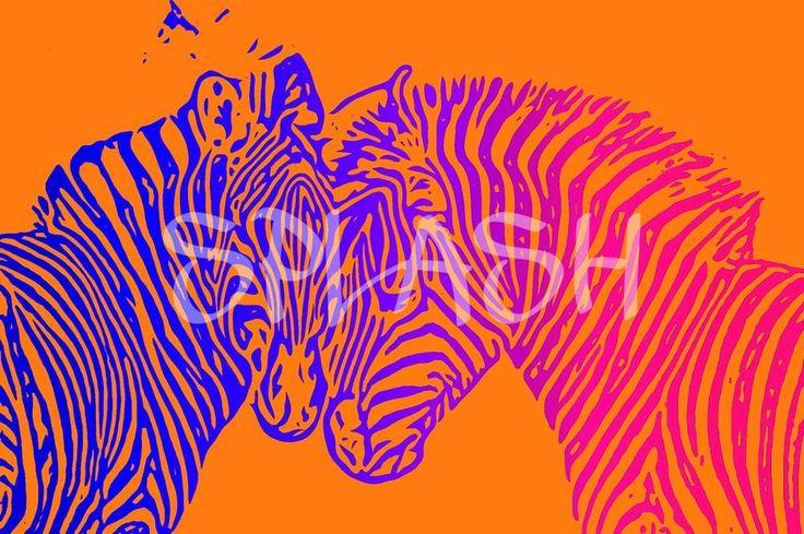 Cuadro pop art cebras naranja SP306