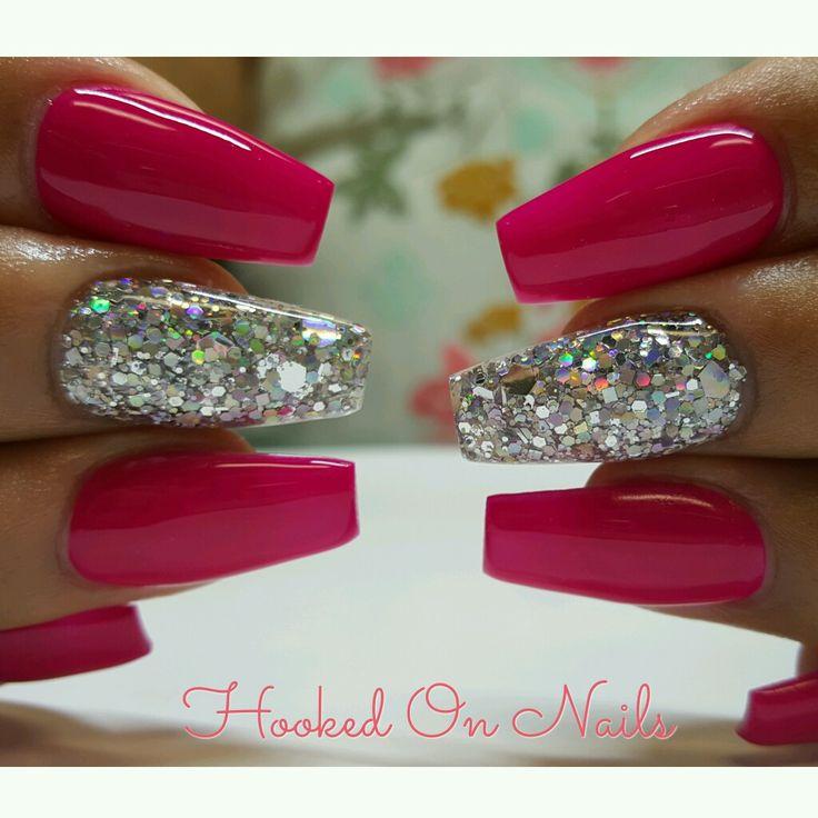 Fucsia, glitter nail, coffin nails, holographic glitter