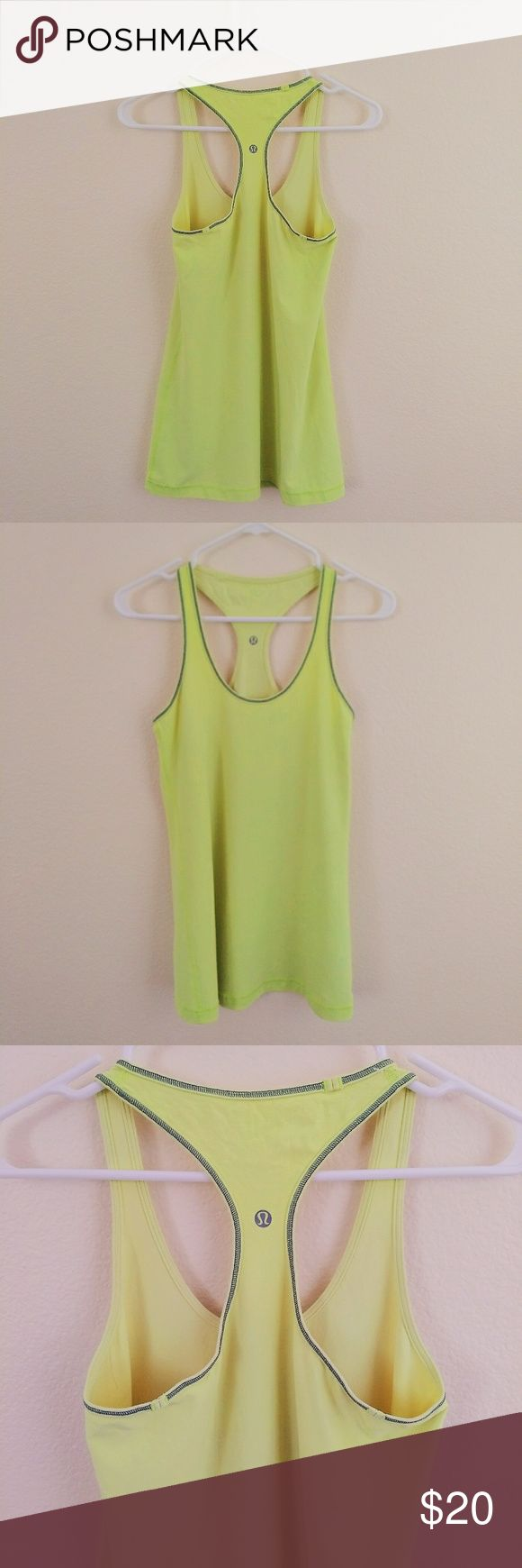 Lululemon Yellow Tank Top Yellow tank top, gray lining. There is no size tag so the size is my best guess  based on measurements. Exercise tank top. Perfect for yoga, running, hiking, etc. Bright and fun color. Great condition, lightly used. Price is open for discussion. lululemon athletica Tops Tank Tops