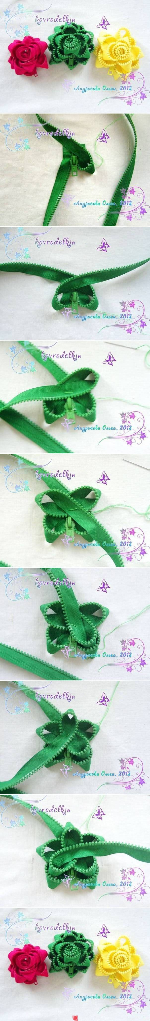 Flower made from an old zipper. DIY jewelry. sandylandya@outlook.es....reépinglé par Maurie Daboux.•*´♥*•❥ڿڰۣ—