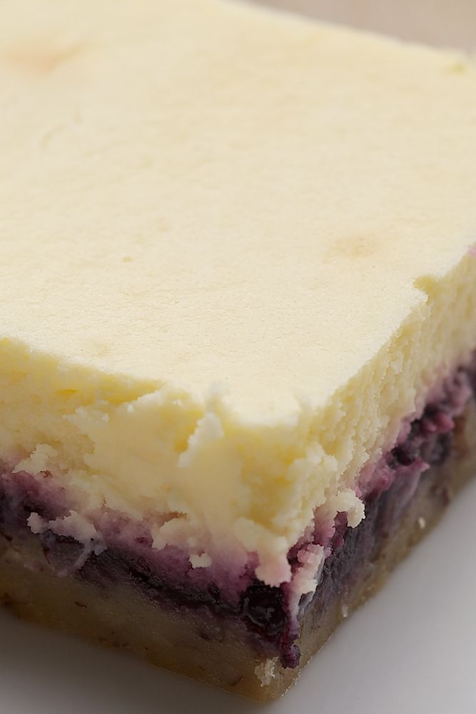 Lemon, blueberry cheesecake bars.