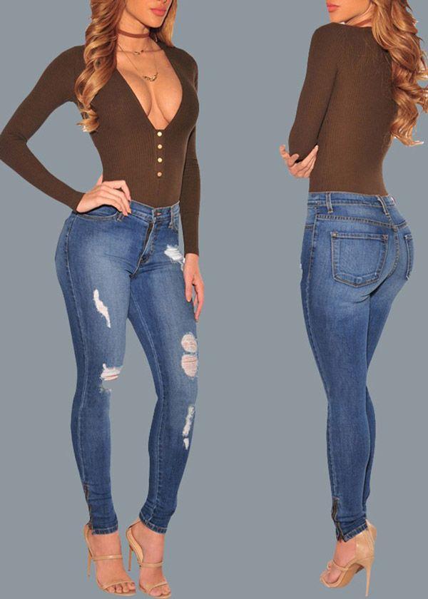 Compre Calça Jeans Skinny Rasgadinha Azul | UFashionShop