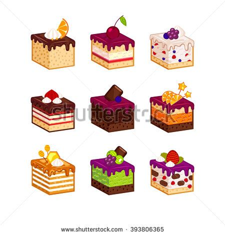 Flat design cake piece icons with flavor decor. Cartoon cakes flavour vector illustration. Cake slice isolated set. Birthday cake order infogaphics. Pieces of cake. Chocolate, berries, tiramisu