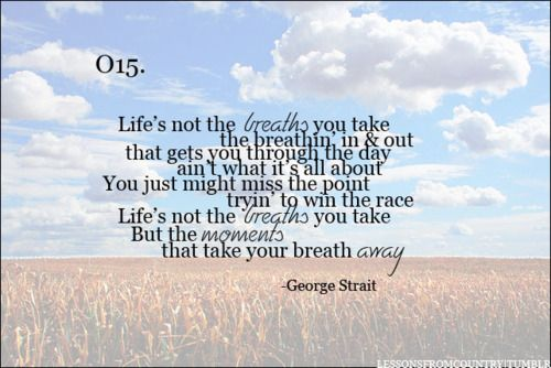 Life's not the breaths you take, but the moments that take your breath away.: Life Motto, Georgestrait, King George, George Strait, Life Lessons, Country Quotes, Country Music Quotes, Country Lyrics, Country Girls Quotes