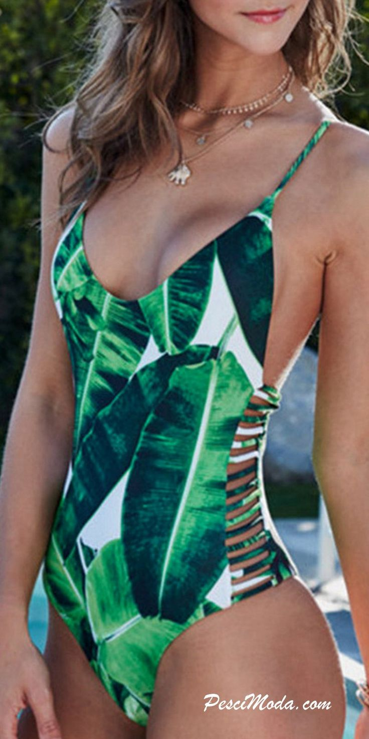 Product Description: (Free Shipping) Exotic Leaf Printed Sexy One Piece Vintage Swimsuit by PesciModa Item Type: One Piece, Sport Type: Swim, Gender: Women, Pattern Type: Solid, Material: Spandex,Poly