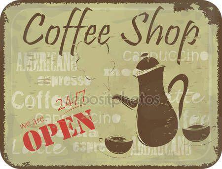 Grunge teken patroon voor koffie shop — Stockillustratie #10945511