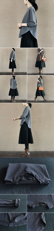Gray Cambered Hem Long Sleeve T-shirt Cotton Top Causel Women Clothes