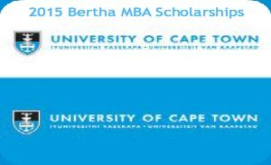 2015 Bertha MBA Scholarships for African Students at UCT Graduate School of Business in South Africa, and applications are submitted till 14th November 2014. The Graduate School of Business at UCT offers annual Bertha MBA scholarships for African students who have met the requirements for the MBA programme and who are driven by their pursuit in social or green ventures. - See more at: http://www.scholarshipsbar.com/2015-bertha-mba-scholarships.html#sthash.0PvprViS.dpuf