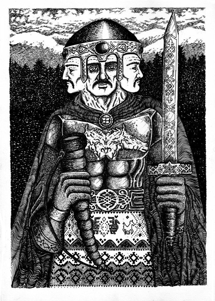Świętowit / Światowid / Swantowit / Swantewit / Svątevit / Svetovid / Svantovit - one of the major Slavic deities, god of war, fertility and abundance. Art by Andy Paciorek. READ ABOUT THE HISTORICAL FACTS.