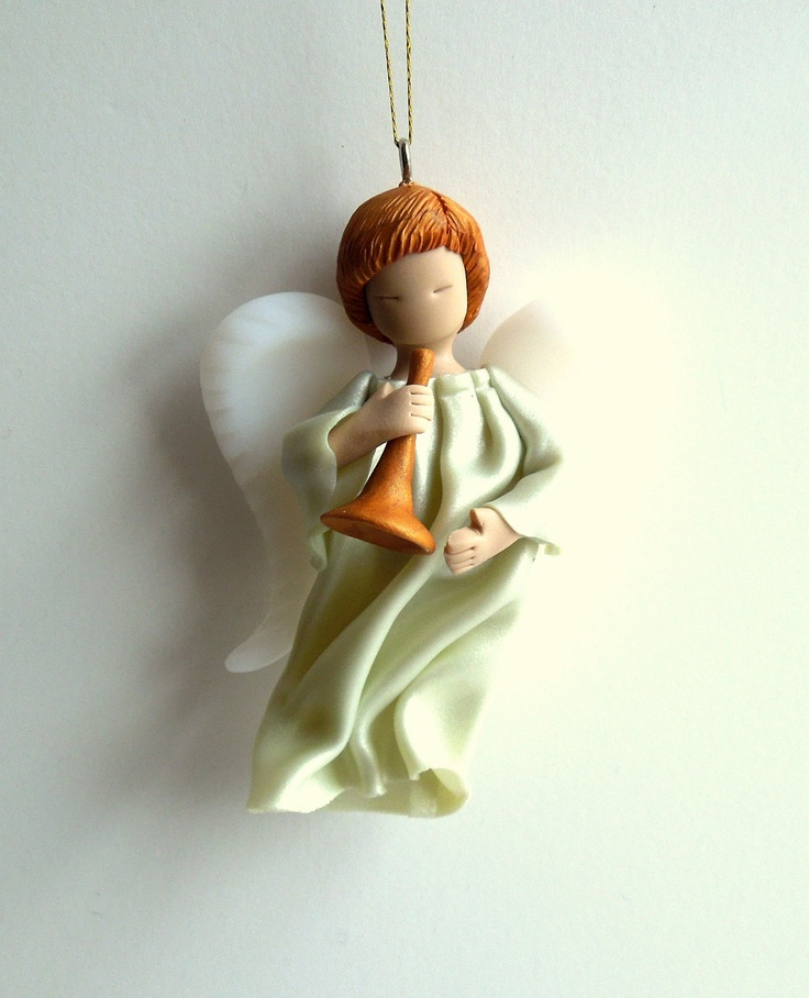 christmas angel ornament polymer clay angel pale green with trumpet
