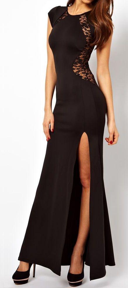 Black Lace Split Maxi Dress ♥