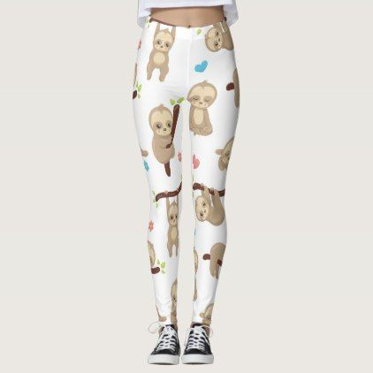 Cute Sleepy Sloth Leggings - diy individual customized design unique ideas