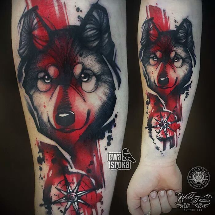 Image May Contain 1 Person Wolf Tattoos Wolf Tattoo Sleeve Tattoos For Dog Lovers