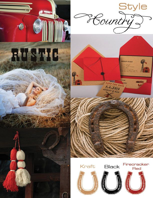 rustic red country wedding inspiration. would love this minus the red. maybe substitute red for blue.