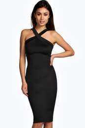 Mel Cross Front Strappy Detail Midi Bodycon Dress alternative image