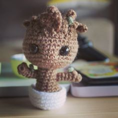 I don't know about you, but I fell in love with Groot after watching Guardians of the Galaxy, and especially with the tiny potted Groot that appeared at the end. It took me over a year to get around to making one, which is absolutely typical, but here he is at last! I must say, he's pretty adorable, and fairly simple to work up. You will need: brown yarn green yarn white yarn 3.00 mm crochet hook polyester filling yarn needle 2 x 8.00mm If you're confused about ho...