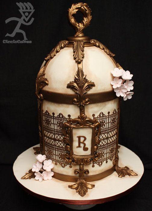 Antique Birdcage All Edible - by Ciccio @ CakesDecor.com - cake decorating website