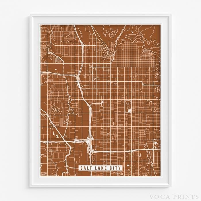 Houston Judgemental Map%0A Salt lake city  utah street map print