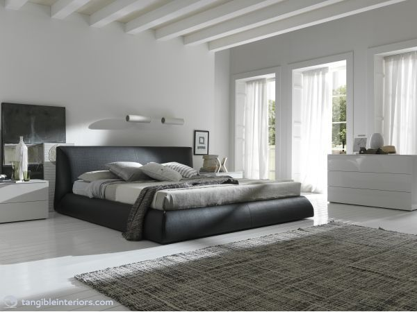 COCO BED BY ROSSETTO. Modern bed upholstered in Brown Leather Effect material with suggested Moon nightstand and dresser.