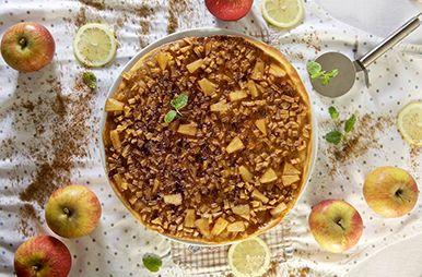 Dessertpizza met appel en ananas