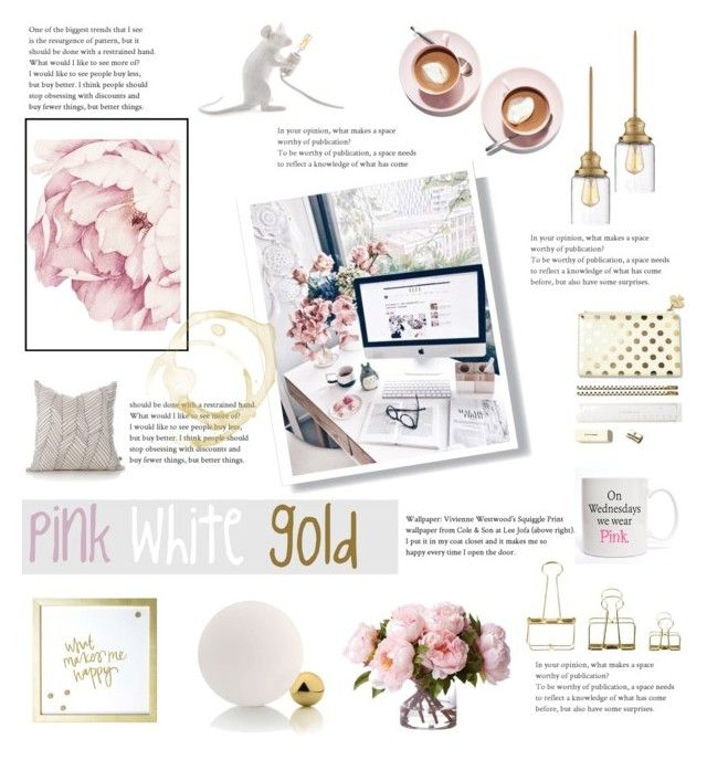 pink white gold home office by levai-magdolna on Polyvore featuring interior, interiors, interior design, home, home decor, interior decorating, Possini Euro Design, MikeyLins by Petal Lane, HAY and home office