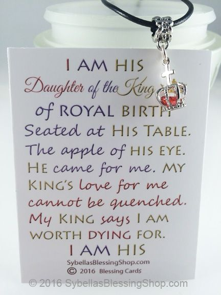 $11.99 USD Daughter of the King Necklace. Christian Scripture Inspired Jewelry at SybellasBlessingShop.com Perfect for sisters in Christ, Ministry groups, baptisms, retreats, door prizes and other meaningful gifts and designs.