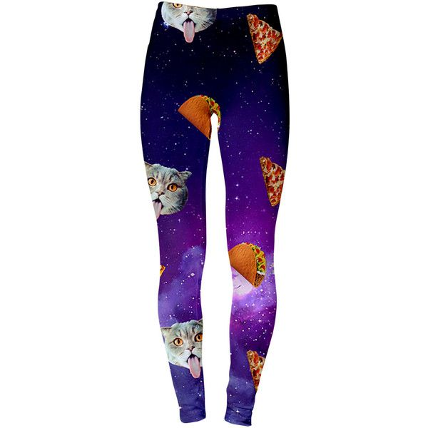 Cat Pizza Tacos Leggings ($40) ❤ liked on Polyvore featuring pants, leggings, grey, women's clothing, grey trousers, grey leggings, cat print leggings, cat pants and gray pants