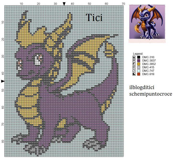 Schema punto croce Spyros di Skylanders giants