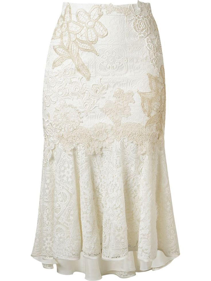Martha Medeiros embroidered lace mix midi skirt