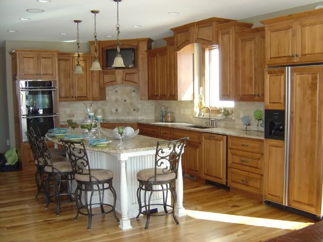 kitchen cabinets and flooring combinations | cabinets?? w/ hickory ...