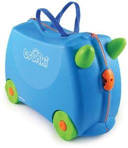Trunki / Terrance  TRUNKI ER EN KUFFERT PÅ HJUL – DESIGNET TIL BØRN PÅ FARTEN  Børnene kan pakke deres Trunki med alt deres yndlings legetøj, køre på den, sidde på den, trække den eller blive trukket af deres forældre. www.farmorsoutlet.dk