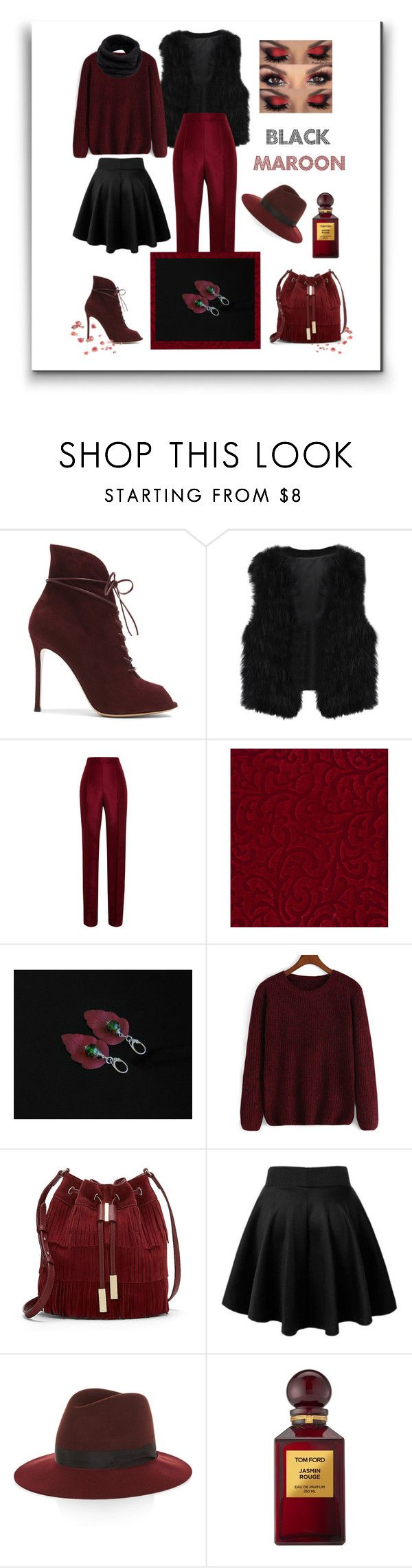 """""""Black & Maroon"""" by styledonna on Polyvore featuring moda, Gianvito Rossi, Rosie Assoulin, Vince Camuto, rag & bone, Tom Ford, Helmut Lang, trending, maroon i outfits"""