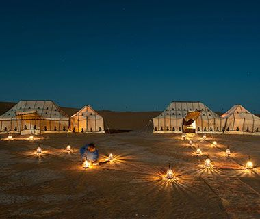 Most Beautiful Travel Photos: Morocco - Tents at Erg Chigaga Luxury Camp.
