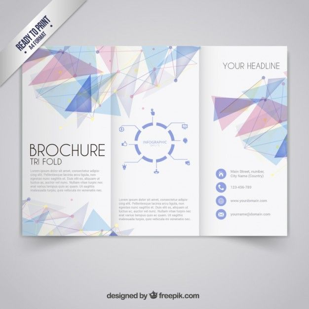 Brochure Template In Geometric Style Free Vector Free Trifold