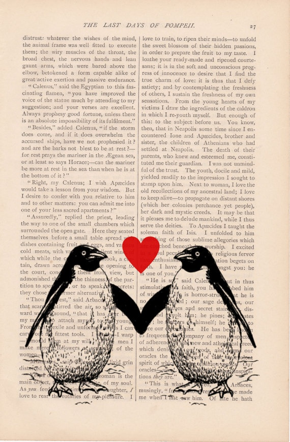 valentines decor dictionary art vintage two penguins in love print vintage art book page print valentines day decor gift - Book Page Print