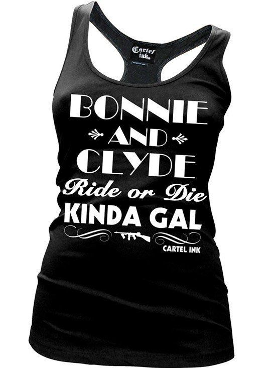 """Women's """"Bonnie and Clyde"""" Tank by Cartel Ink (Black) - www.inkedshop.com"""