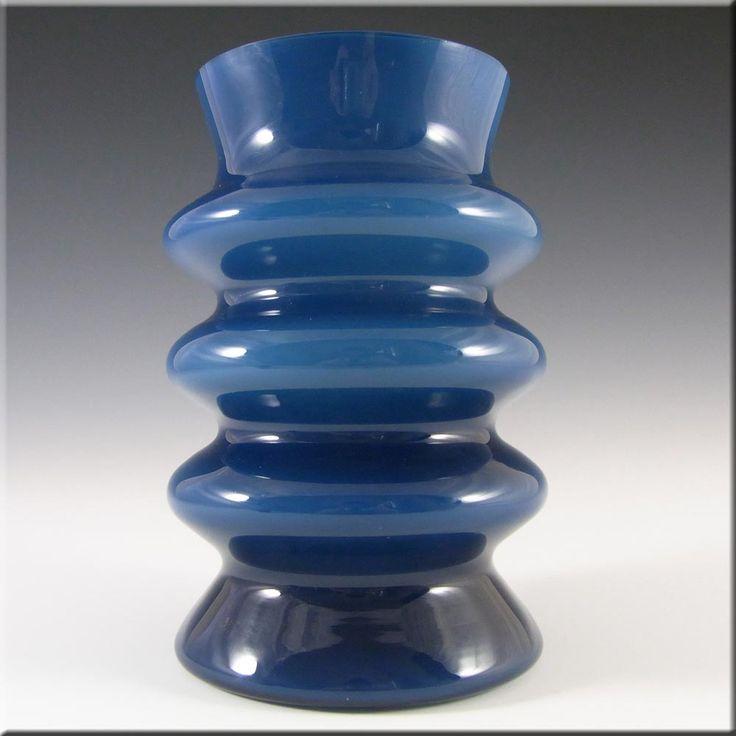Aseda Swedish Blue Hooped Glass Vase by Bo Borgstrom - £59.99