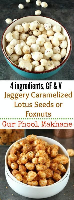 Jaggery Caramelized Lotus Seeds is a guilt free and healthy snack full of nutrients!  It comes together in 10 minutes and is a gluten-free, vegan and low calorie recipe.