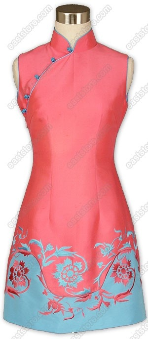 Mandarin collar.  Chinese knot buttons.  Floral embroidered.  Fully lined.  A-line skirt.  Knee length.