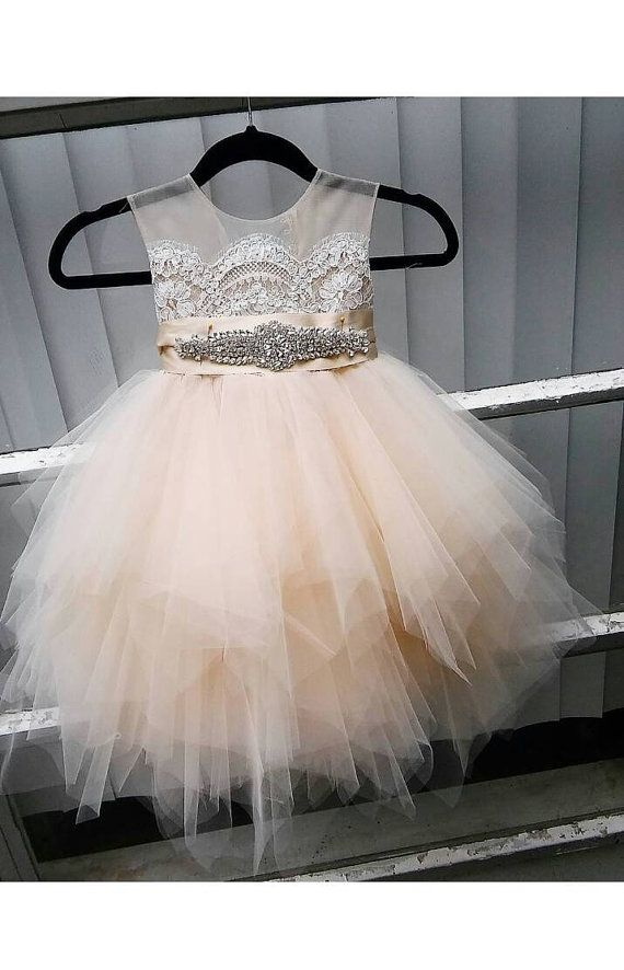 flower girl dress 'Bianca' with rhinestone sash, sheer netting, French lace, pouffy tulle skirt, birthday dress, fairy dress, pageant dress