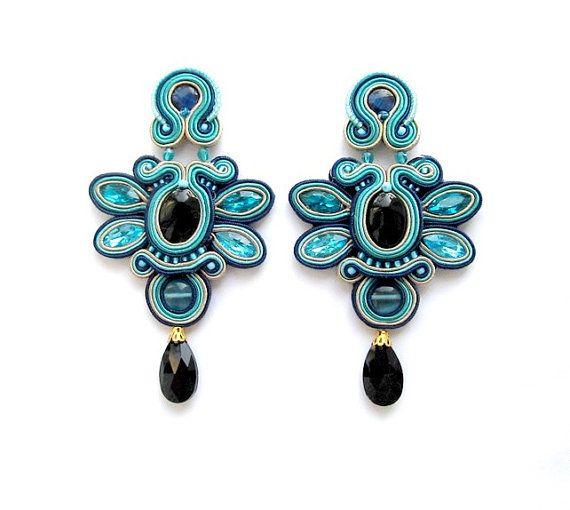 Soutache Earrings Blue Clips Soutache Gioielli by StudioGianna